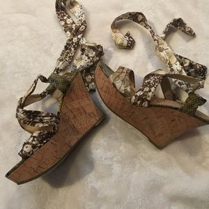 Guess Lace Up Cork Wedge